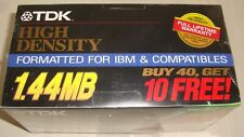 "50 TDK 3.5"" Floppy Disks High Density 1.44 MB Formatted IBM and Compatibles"
