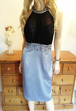 Definitions Size 14 Simply Fab Silver Satin Black Mesh Bead DRESS Be Occasion