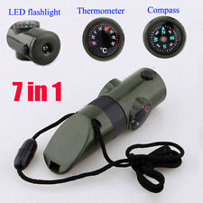7 in 1 Military Emergency Whistle Survival Kit Compass LED Light Thermomet