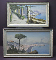 Antique Salvatore Montullo Gouache Paintings, Italian Coast Landscape, pre-1882