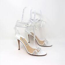 Manolo Blahnik 37.5 White & Clear PVC Wrap Sandal Heels