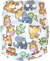 Modern Cloth Reusable Washable Baby Nappy Diaper & Insert, Cute animal Jungle