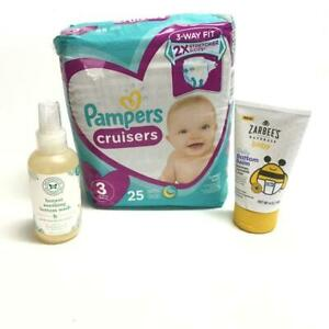 3 PC Lot Sz 3 Pampers Cruisers Honest Bottom Wash Zarbees bottom Balm Baby Gift