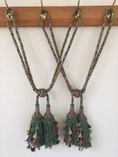 Pair Vtg Antique Braid French Silk Passementerie Drapery Curtain Tassel Tiebacks