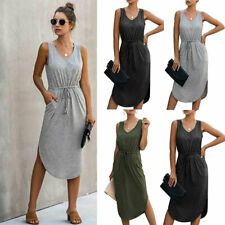 Womens V-Neck Sleeveless Plain Midi Dress Ladies Drawstring Casual Vest Dress UK