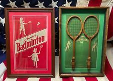 Vintage 1920s Rollin Wilson Junior Badminton Raquets Orig.BoxTop Antique Framed