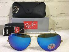 *RAY*BAN Aviator Sunglasses Gold Frame RB 3025 112 4L POLARIZED Blue Flash 58mm
