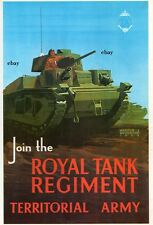 WW2 ROYAL TANK REGIMENT TERRITORIAL ARMY TA RECRUITING POSTER NEW A4 PRINT