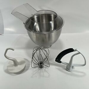KitchenAid K45 Stainless 4qt Mixing Bowl, Pour Shield, Whip, Hook, Beater - Read
