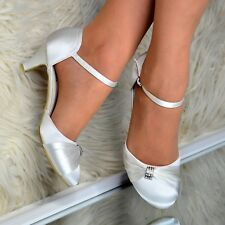 Ladies Ivory Satin Low heel Shoes Wedding Mary jane Ankle strap Closed Bridal