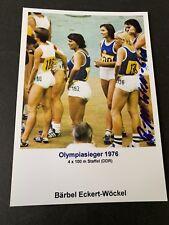BÄRBEL WÖCKEL 4 olympic gold medals 1976/80 track&field signed  photo 4x6