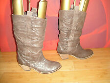 SUPERB BARRATTS BROWN LEATHER  COWBOY STYLE ANKLE  BOOTS  E 39 UK 6 *19*