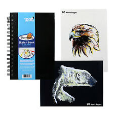 Thornton's 8.5 x 5.5 Spiral Perforated Sketch Pad Black/White Pages 100 Sheets