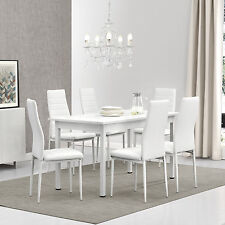 [en.casa]® Dining Table with 6 Chairs White 140x70cm Kitchen Room