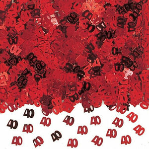 RUBY Wedding Table CONFETTI 40th RED AGE number 40s CONFETTI