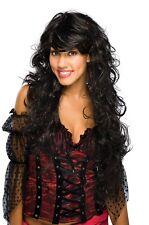 Long Black Wavy Wig Womens Dark Hair Bangs Costume GoGo Red Tinsel Adult Curly