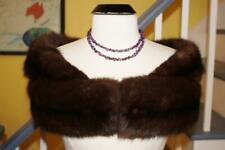 Luxurious Vintage Real SABLE Fur Stole Shrug Natural Rich Brown Color