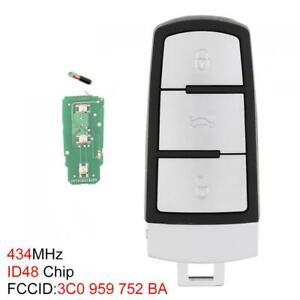 434MHz 3 BUTTON SMART REMOTE KEY ID48 Chip FIT FOR VW PASSAT B6 CC 3C0959752BA