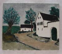 Dorfstraße mit Bauernhof Oel auf Leinwand 1970er Jahre Expressionismus