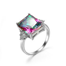 Handmade Shiny Natural Rainbow Mystic Fire Topaz Gems Solid Silver Ring Sz 6-10