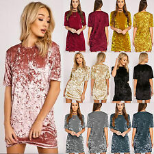 Women Lady Crushed Velvet Short Sleeve Blouse Tops Casual Party Mini Shift Dress