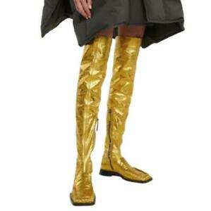 Details about  /Ladies Thigh High Mid Calf Knee Boots Zip Low Heel Square Toe Shoes Wedding L