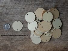 50 count 1.5 inch wood 2 HOLE TAG CIRCLE shape DIY 1-1/2 inch wooden coin craft