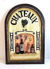 "DIMENSIONAL HAND PAINTED OLD STYLE WOOD DECORATIVE CHATEAUX PLAQUE 23.5"" X 16"""