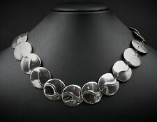 """Taxco Sterling Silver Disc Panel Link Statement Necklace 18"""" 77g TC-47 925 NS808"""