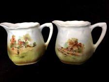 ANTIQUE Pair of German Hand Painted CREAMERS PITCHERS Rural Scenes EUC Vintage