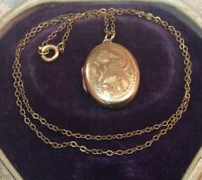 Vintage Jewellery Signed Rolled Gold Picture Photo Locket Pendant Necklace