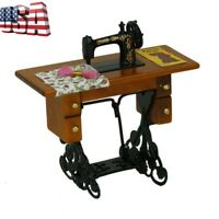 Vintage Miniature Sewing Machine w/ Cloth for 1/12 Dollhouse Furniture Decor US