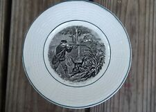 DIGOIN SARREGUEMINES Plate Man Dog Hunt Scene Black Transfer 7-1/8 France