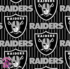 114179047- Black Oakland Raiders Pinstripe NFL Fleece Fabric 6243 D By The Yard