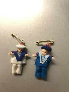 miniature baby sailor safety pins, earrings, trinkets