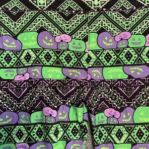 LuLaRoe Leggings TC (Fits Sizes US 12-18) Halloween Jack-o-Lanterns Green Purple
