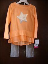 Girl's Star 2 Piece Outfit / Size 4T / Nwt/ Coral/Gray