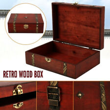 AU Stock Wooden Oversize Vintage Treasure Chest Wood Jewellery Storage Box Case