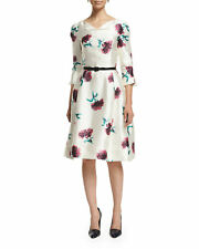 2.7K Oscar de la Renta 3/4 Sleeve Fit-and-Flare Silk Off White Floral Dress Sz 4