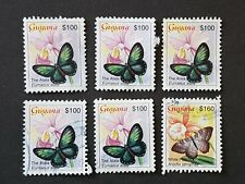 Guyana 6 used stamps 2003 Butterflies