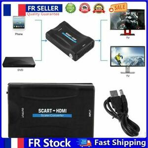 1080P SCART to HDMI-compatible Video Audio Upscale Converter Signal Adapter