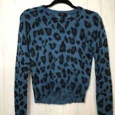 Cue Knit Womens Jumper Mohair Blend Wool Blue Leopard Print Long Sleeve Size S