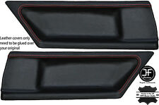 RED STITCH 2X REAR DOOR CARD LEATHER COVERS FITS BMW E36 COUPE 91-98 STYLE 2