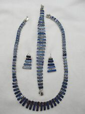 Wonderful Estate 825 Silver & Lapis Links Necklace, Bracelet and Earrings Set