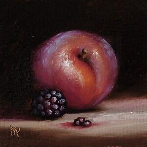 Little Plum And Blackberry Jane Palmer Art original oil painting Still Life