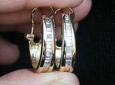 Kay New 14K 1/2ct baguette diamond oval hoop omega earrings in Yellow Gold