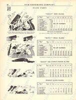 1920s Antique Hardware Ad Adjustable Iron Planes-Jointer Guages-Plane Parts