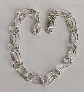 "Sterling Silver Double Link Bracelet 7.9g 8.5"""