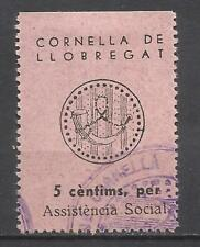 6040-SELLO LOCAL ESPAÑA GUERRA CIVIL CORNELLA DE LLOBREGAT ASISTENCIA SOCIAL BAR