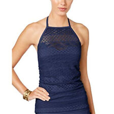 Island Escape High Neck Tankini Top Women's 12 Navy Blue Push-Up Crochet NEW
